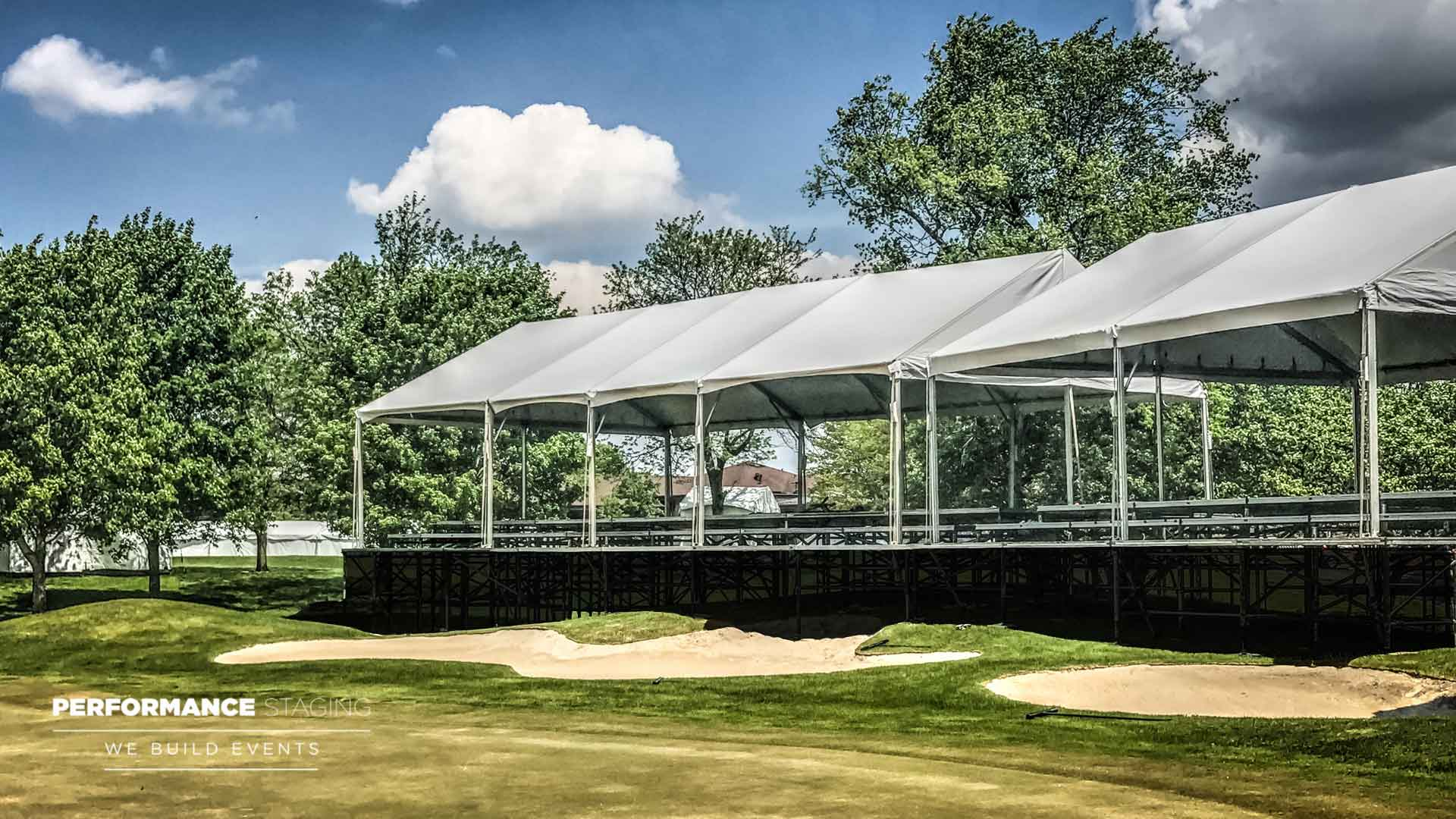 Video: Skybox Rental, Seating Risers And Grandstands at Travis Pointe Country Club For Professional Golf Tournament